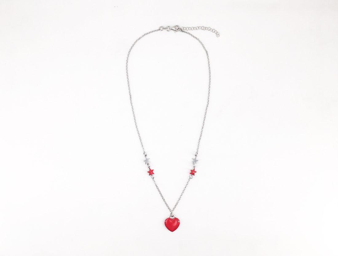 Raccogliere 753ad 3cb1b Collana argento con cuore smaltato rosso e stelle