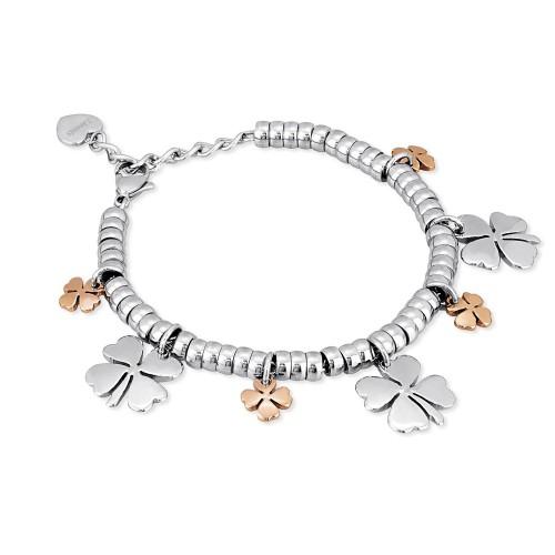negozio online 2ef3e e88a7 Bracciale acciaio 2 Jewels bicolore rondelle con quadrifoglio pendenti