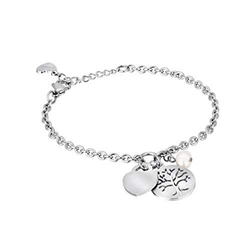 Bracciale acciaio 2 Jewels con albero della vita cuore e perla
