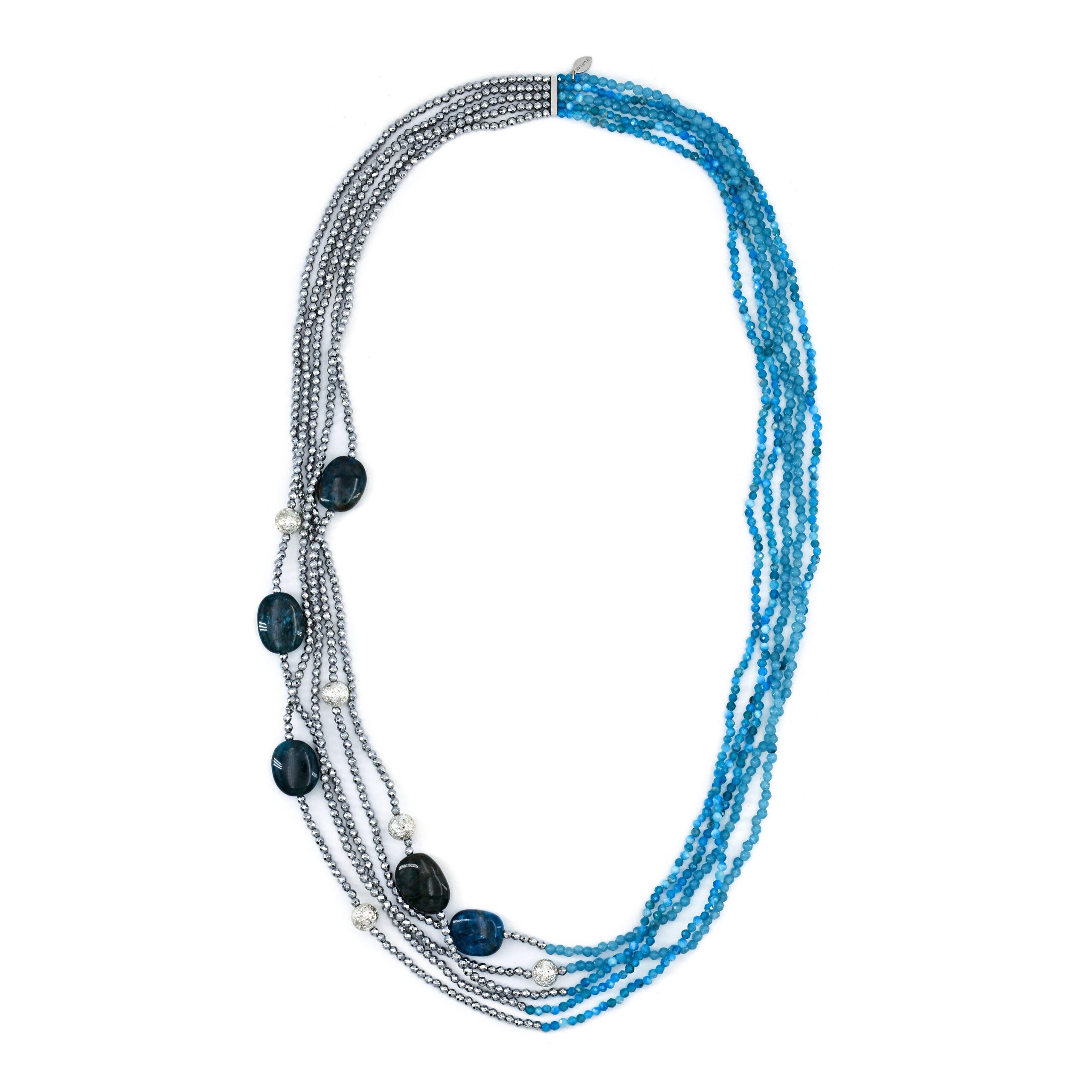 Collana Brand ematite e pietra lavica anallergica cm.50+5 54NK003